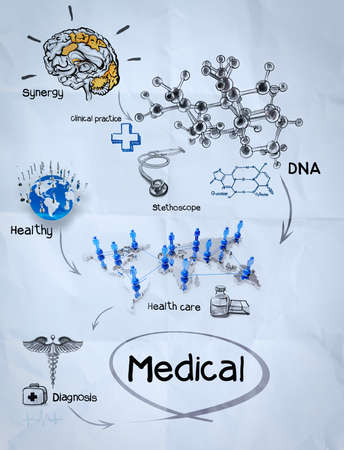 medical network on crumpled paper as concept photo