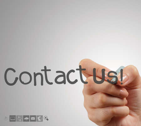 Hand writing Contact us as concept photo