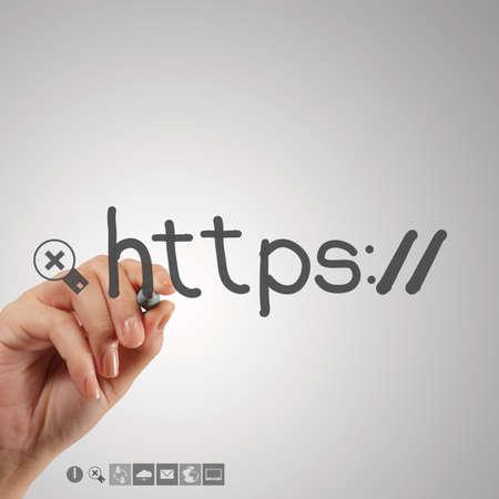 url virtual: hand writting http as internet concept Stock Photo