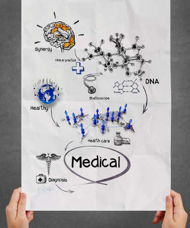 doctor hand shows medical network on crumpled paper poster as  concept photo