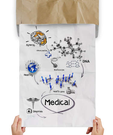 medical network on crumpled paper from recycle envelope as concept photo