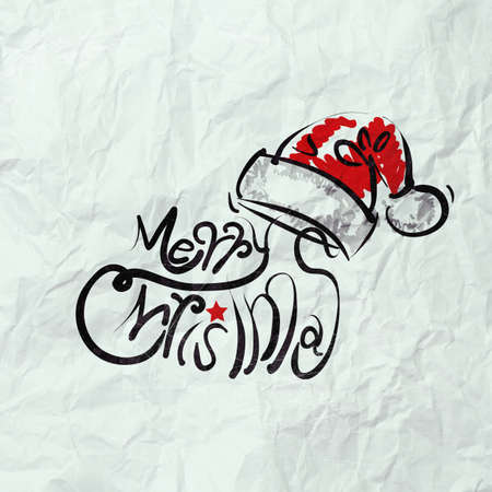 Christmas Card with Santa Claus hand drawn on wrinkled paper as vintage style concept photo