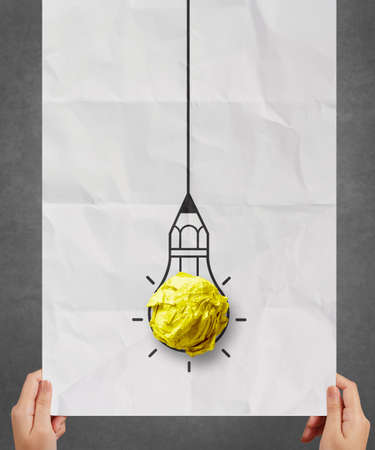 best idea: light bulb crumpled paper in pencil light bulb as creative concept