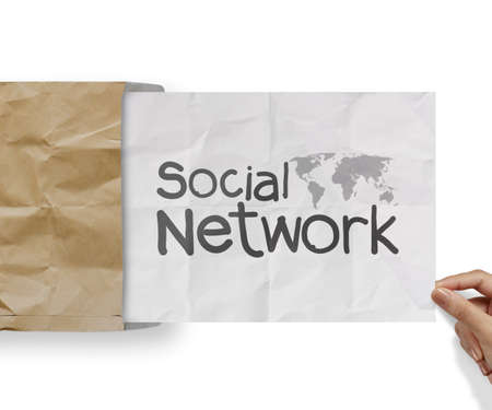 hand drawn social network structure with crumpled from recycle envelope as concept photo