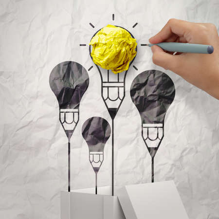 outside the box: hand draws think outside the box as concept Stock Photo