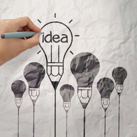 light bulb crumpled paper in pencil light bulb as creative concept Stock Photo - 22393611