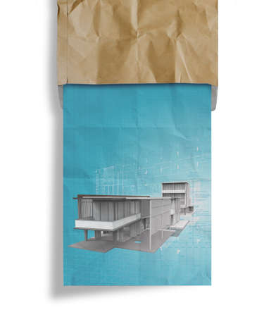 new modern architectural 3d on crumpled paper and recycle envelope background as concept photo