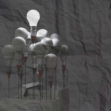 3d drawing idea pencil and light bulb concept outside the box on crumpled paper background photo
