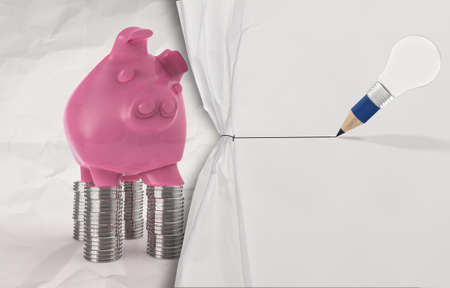 creative money: pencil lightbulb draw rope open wrinkled paper piggy pink as concept