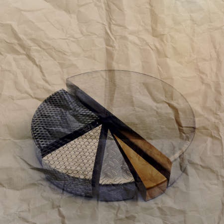 set of different pie chart as vintage style concept on crumpled paper photo