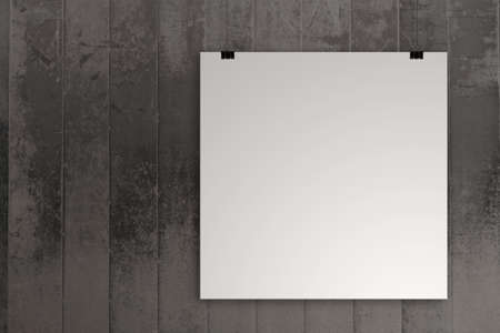 picture frame on wall: blank paper card 3d on composition wall as concept Stock Photo
