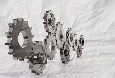 gear to success concept with crumpled recycle paper background as concept Stock Photo - 22393730