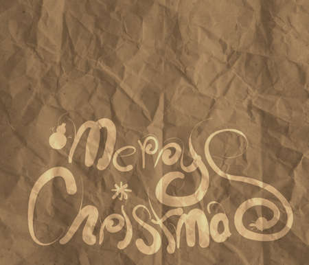 Christmas Card  wrinkled recycle paper background as vintage style concept photo