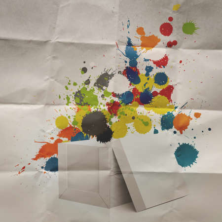 problemsolving:  thinking outside the box and splash colors crumpled paper as concept