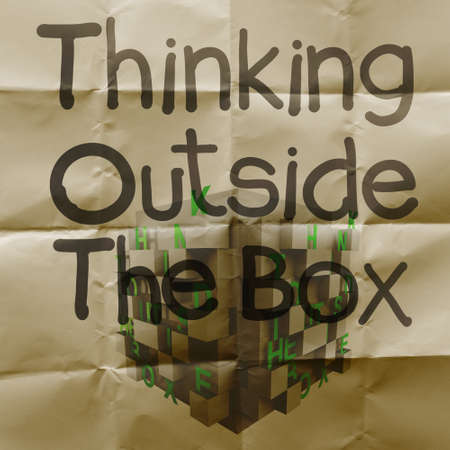 hand drawn think outside the box with crumpled recycle paper background as concept photo