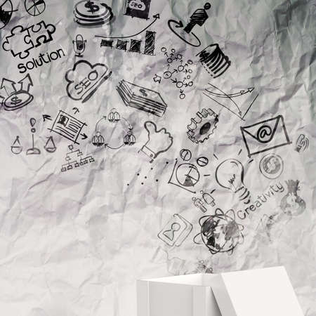 outside the box: think outside the box as creative and leadership concept on crumpled paper
