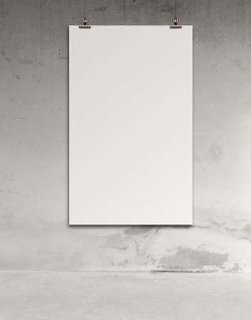blank paper card 3d on composition wall as concept photo