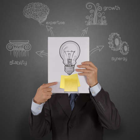businessman hand show book with blank sticky note and lightbulb as creative concept photo