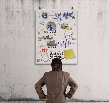 businessman looking  business concept on poster wall  photo