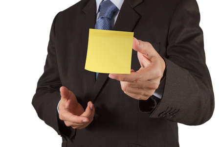 sticky hands: businessman hand show blank sticky note with white background as concept