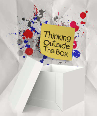 think out of the box: sticky note thinking outside the box and splash colors crumpled paper as concept