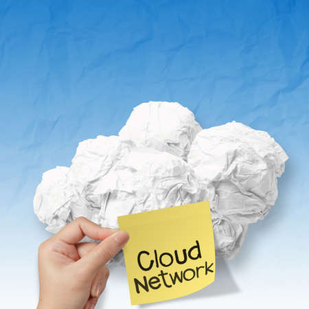 sticky note on crumpled paper Cloud Computing diagram as concept photo