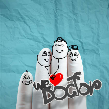 lovely family hand drawn and finger,doctor and nurse,we love doctor concept on crumpled paper background photo