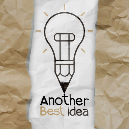 hand drawn another idea light bulb with recycle envelope background as creative concept photo