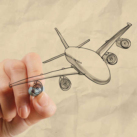 hand drawing airplane with crumpled paper background as concept photo
