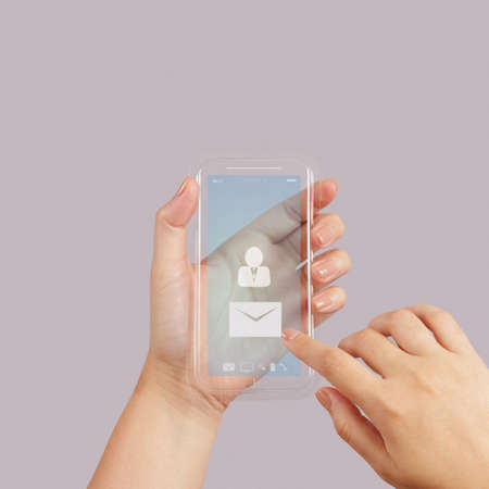 hand use Touch screen mobile phone with email icon as concept  Stock Photo - 22852552