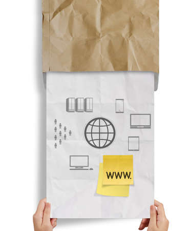 url virtual: www. written on sticky note with crumpled recycle paper as concept