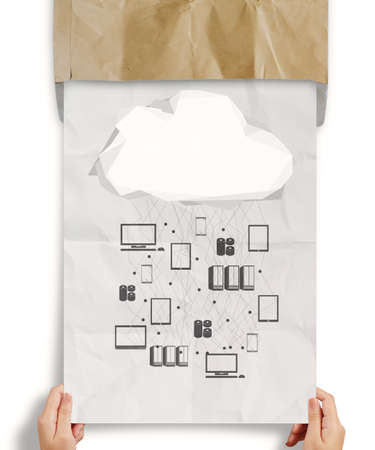 computer services: hand shows  crumpled paper Cloud Computing diagram as concept