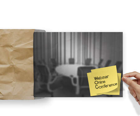 Webinar with sticky note on crumpled envelope paper background as concept Stock Photo - 22852571