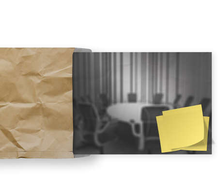 blank sticky note on crumpled envelope paper background as concept Stock Photo - 22852573