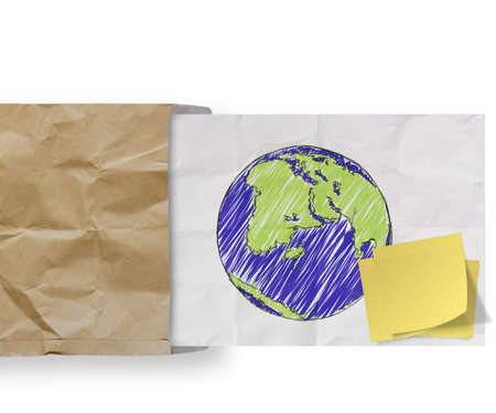save energy with sticky note and sketch illustration of planet earth on crumpled envelope paper background as concept illustration