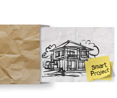 smart project sticky note with house crumpled envelope paper as concept photo