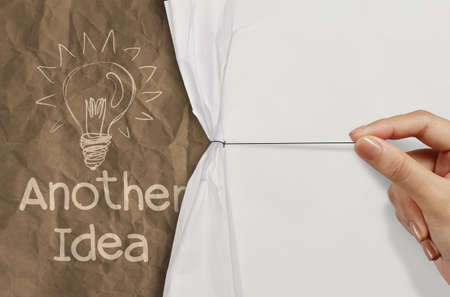 best idea: another idea light bulb with recycle envelope background as creative concept