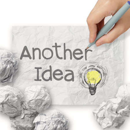 another: hand draws another idea light bulb with recycle envelope background as creative concept