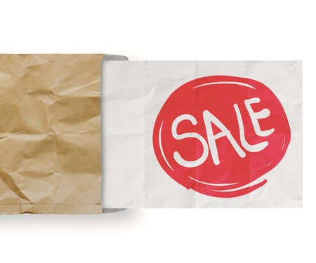 word sale with crumpled paper background as concept design photo