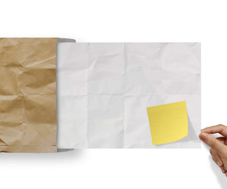 blank sticky note on recycle crumpled paper background texture in composition Stock Photo - 22852613