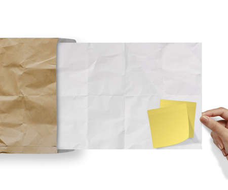 blank sticky note on recycle crumpled paper background texture in composition photo
