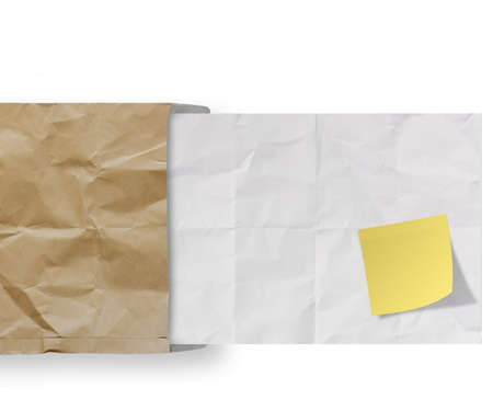 blank sticky note on recycle crumpled paper background texture in composition Stock Photo - 22852616