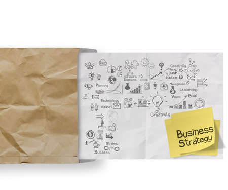 growth opportunity: business strategy on crumpled paper envelope  background and sticky note as concept