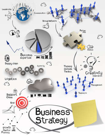 hand drawn creative business strategy on crumpled paper background and sticky note as concept photo