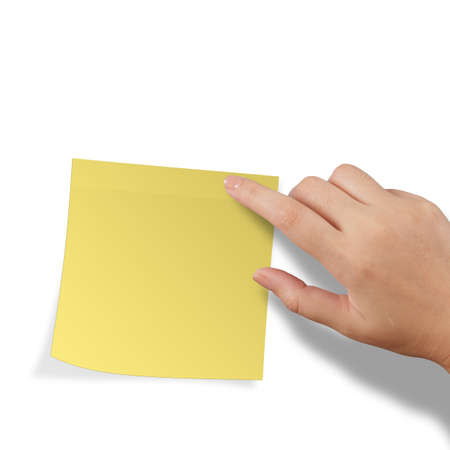 sticky hands: hand touch blank yellow sticky note on white background