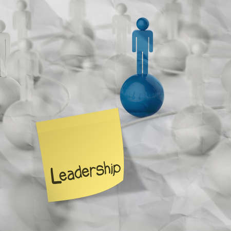 sticky note and leadership  3d  human social network  on crumpled paper background as concept photo