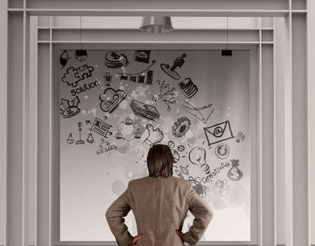 businessman looking  business concept on poster with composition wall photo