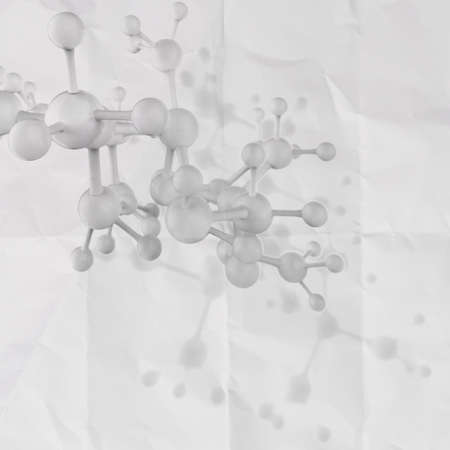 Molecule white 3d on crumpled paper background as concept photo