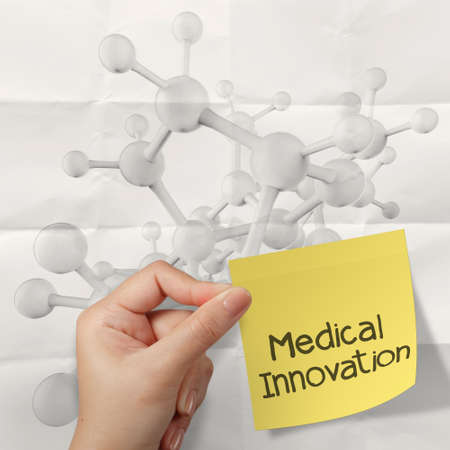 hand holding meducal innovation on sticky note Molecule white 3d on crumpled paper background as concept photo