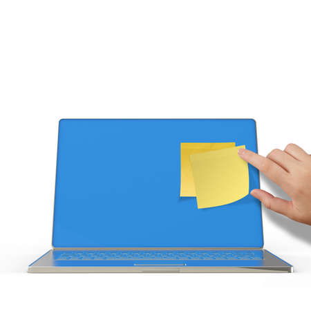 Yellow sticky note post on 3d laptop computer as concept Stock Photo - 22852687